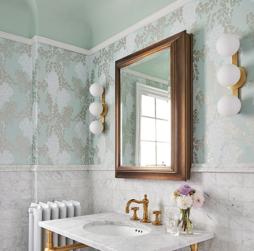 Farrow & Ball wallpaper and paint powder room