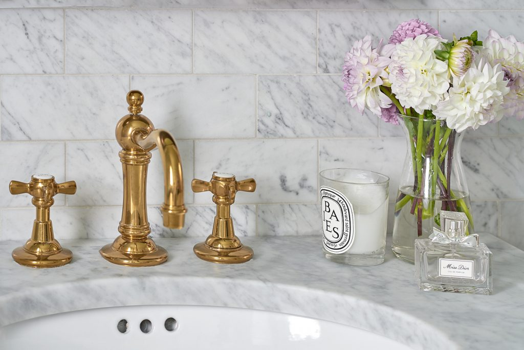 brass hardware powder room